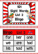 101 | Red | List 2 | Sight Words | Bingo