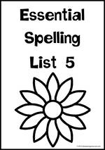 Essential Spelling | List 5 | Charts