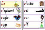 Letter Ee | Words | Flashcards