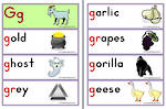 Letter Gg | Words | Flashcards