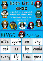 Sight Words |  Bingo Game |  Dolch Grade 1 | List 3 | QLD Print