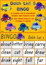 Sight Words | Bingo Game | Dolch Grade 3 | List 5 | VIC Print